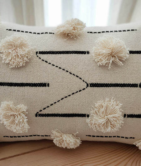 Hand Work Black and Natural Cotton Cushion Cover (30.48cm x 50.8cm)