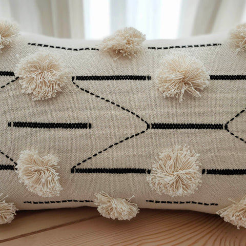Hand Work Black and Natural Cotton Cushion Cover (12in X 20in)