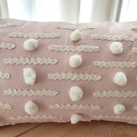 Hand Work Blush Cotton Cushion Cover (12in X 20in)