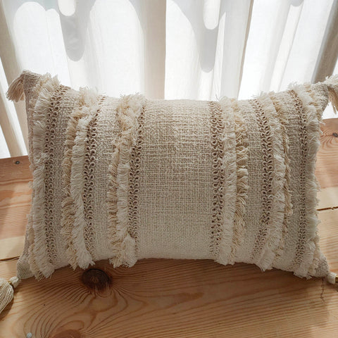 Hand Work Natural Cotton Cushion Cover (12in X 18in)