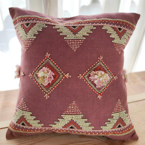 Hand Work Rust Cotton Cushion Cover (16in X 16in)
