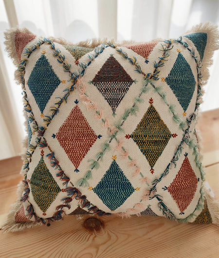 Hand Work Multicolor Cotton Cushion Cover (45.72cm x 45.72cm)