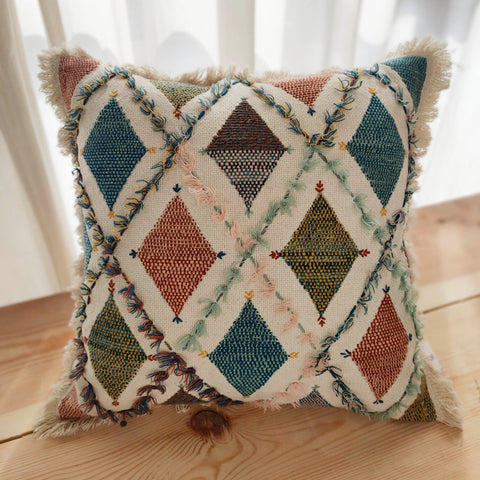 Hand Work Multicolor Cotton Cushion Cover (18in X 18in)
