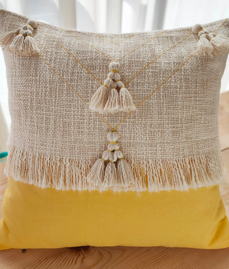 Hand Work Yellow Cotton Cushion Cover (45.72cm x 45.72cm)
