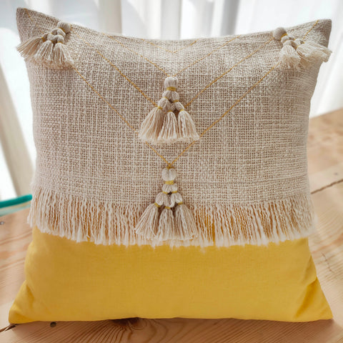 Hand Work Yellow Cotton Cushion Cover (18in X 18in)