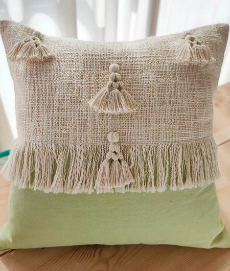 Hand Work Mint Cotton Cushion Cover (45.72cm x 45.72cm)