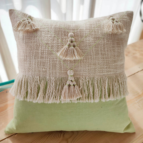 Hand Work Mint Cotton Cushion Cover (18in X 18in)