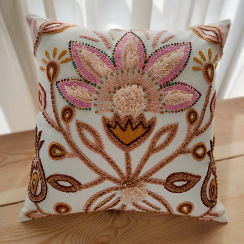 Hand Work Blush Cotton Cushion Cover (16in X 16in)