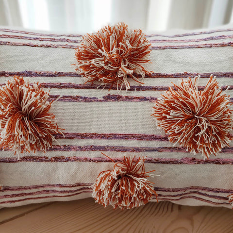Hand Work Multicolor Cotton Cushion Cover (12in X 20in)