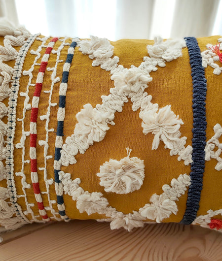 Hand Work Ochre Cotton Cushion Cover (30.48cm x 45.72cm)