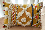 Hand Work Ochre Cotton Cushion Cover (12in X 18in)
