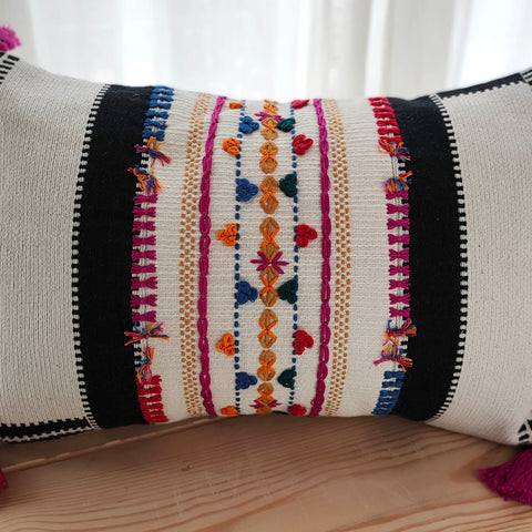 Hand Work Multicolor Cotton Cushion Cover (12in X 18in)