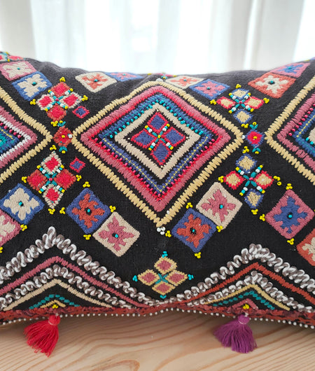 Hand Work Multicolor Cotton Cushion Cover (30.48cm x 45.72cm)