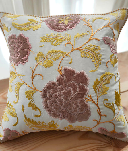 Hand Work Multicolor Poly Cushion Cover (40.64cm x 40.64cm)