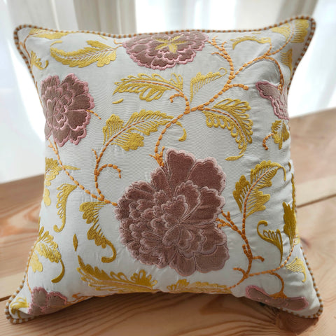 Hand Work Multicolor Poly Cushion Cover (16in X 16in)
