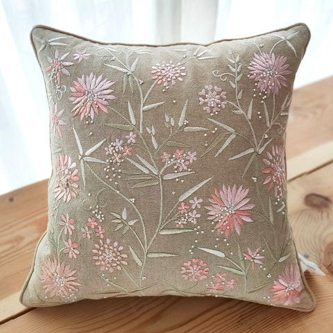 Hand Work Beige Cotton Cushion Cover (16in X 16in)