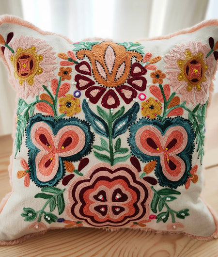 Hand Work Multicolor Cotton Cushion Cover (40.64cm x 40.64cm)