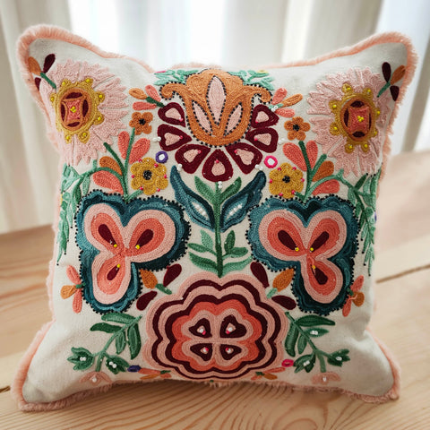 Hand Work Multicolor Cotton Cushion Cover (16in X 16in)