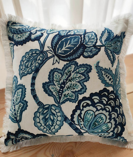 Hand Work Indigo Cotton Cushion Cover (45.72cm x 45.72cm)