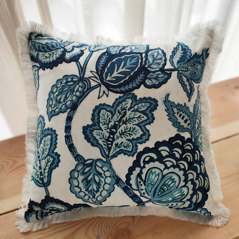 Hand Work Indigo Cotton Cushion Cover (18in X 18in)