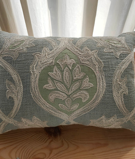 Hand Work Grey Blue Cotton Cushion Cover (30.48cm x 45.72cm)