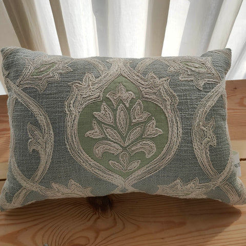 Hand Work Grey Blue Cotton Cushion Cover (12in X 18in)