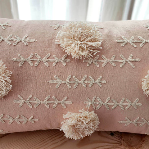 Hand work Blush Cushion Cover (12in x 18in)