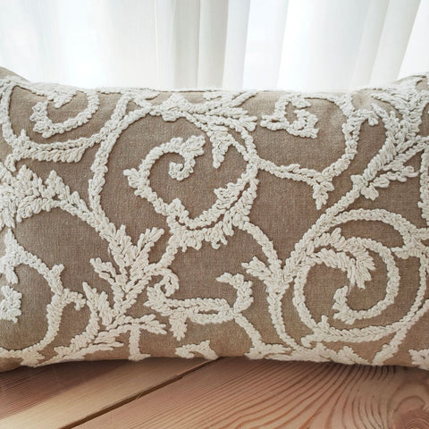 Hand work Beige and Off White Cushion Cover (12in x 18in)