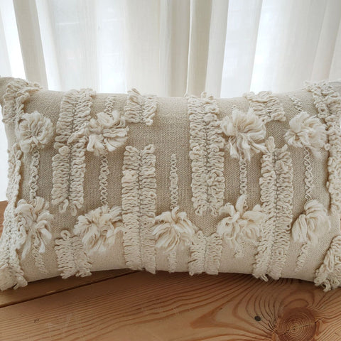 Hand work Natural Cushion Cover (12in x 18in)