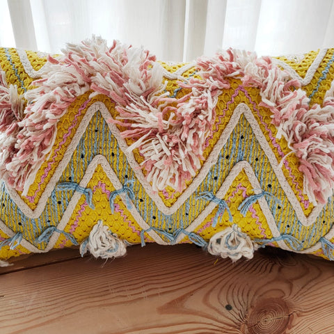 Hand work Multicolor Cushion Cover (12in x 18in)