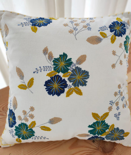 Hand work Off-White and Multicolor Cushion Cover (40.64cm x 40.64cm)