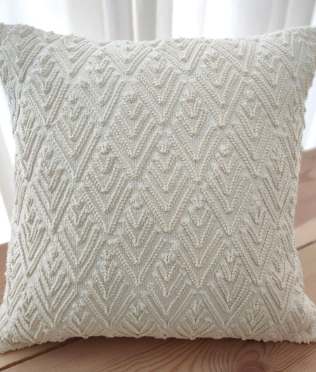 Hand work Off-White Cushion Cover (40.64cm x 40.64cm)
