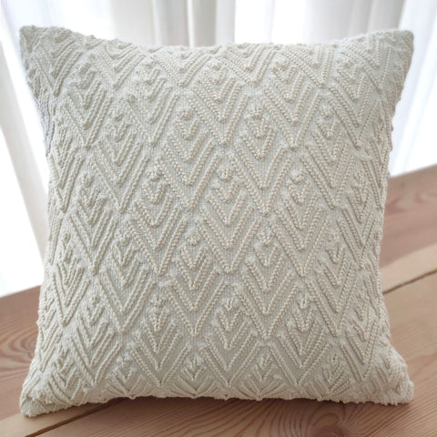 Hand work Off-White Cushion Cover (16in x 16in)