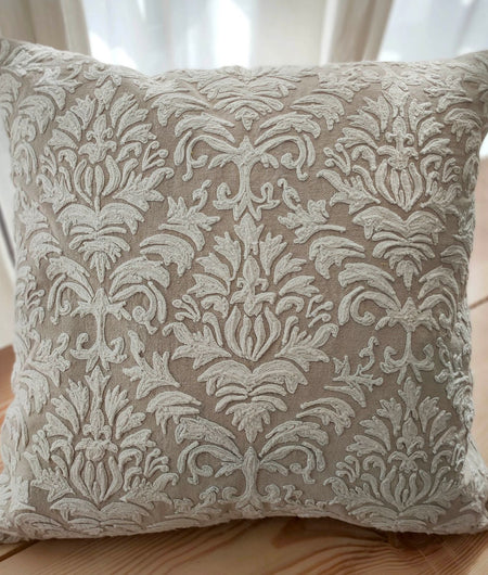 Hand work Beige and Off-White Cushion Cover (40.64cm x 40.64cm)