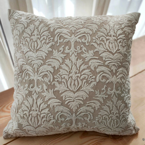 Hand work Beige and Off-White Cushion Cover (16in x 16in)