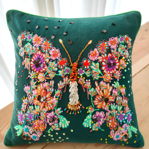 Hand work Multicolor Cushion Cover (18in x 18in)