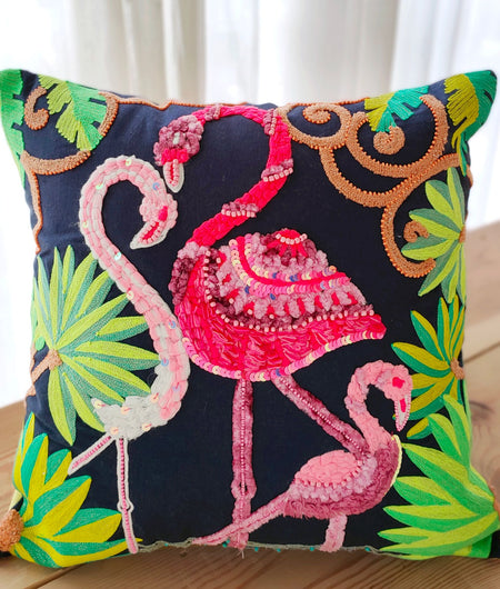 Hand work Multicolor Cushion Cover (45.72cm x 45.72cm)