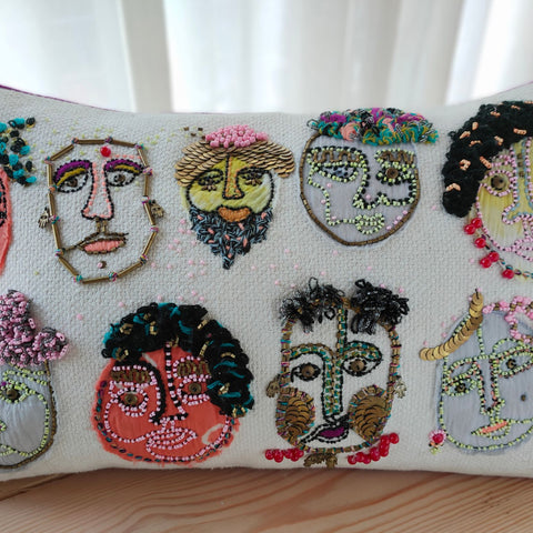 Hand work Multicolor Cushion Cover (12in x 20in)