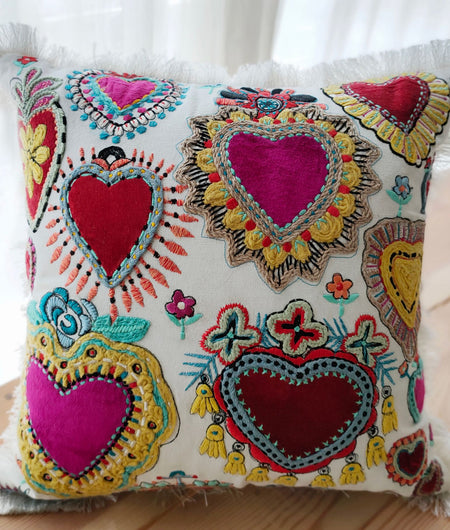 Hand work Multicolor Cushion Cover (40.64cm x 40.64cm)
