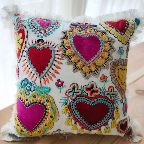 Hand work Multicolor Cushion Cover (16in x 16in)