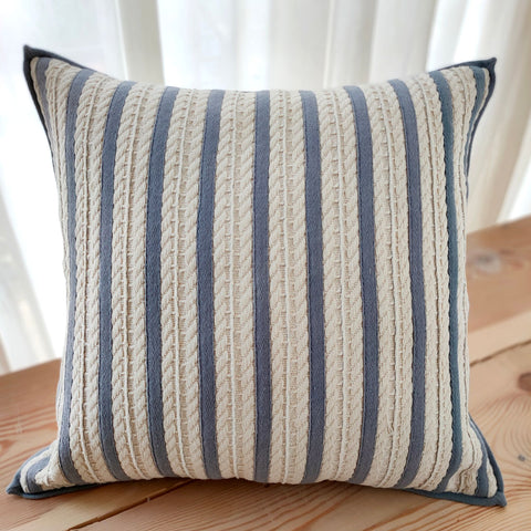 Hand work Grey Blue Cushion Cover (18in x 18in)