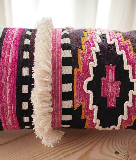 Hand work Multicolor Cushion Cover (30.48cm x 60.96cm)