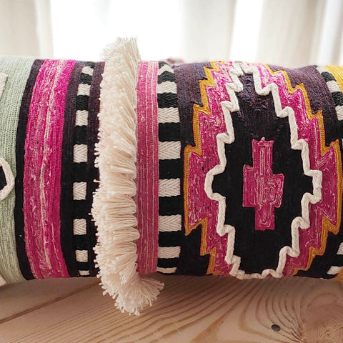 Hand work Multicolor Cushion Cover (12in x 24in)