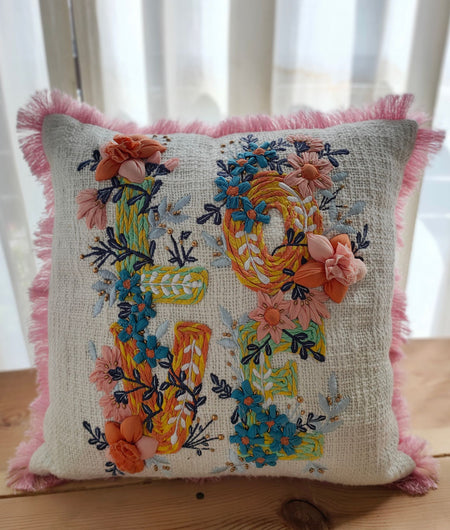 Hand Work White With Multicolor Cushion Covers (40.64cm x 40.64cm)
