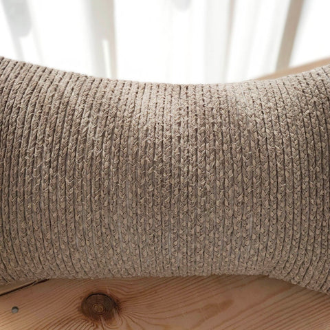 Hand work Beige Cushion Cover (12in x 18in)