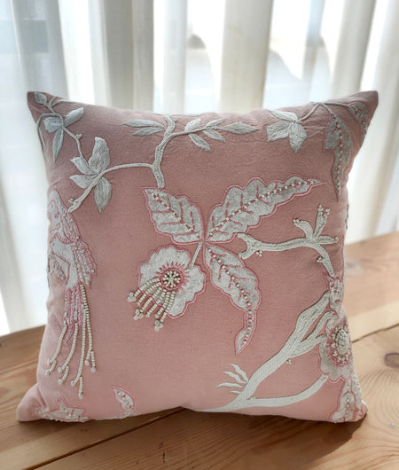 Hand Work Peach Cushion Covers (40.64cm x 40.64cm)