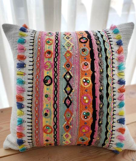 Hand Work Off-White and Multicolor Cushion Covers (40.64cm x 40.64cm)