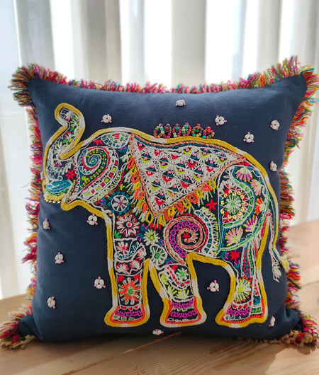 Hand Work Blue With Multicolor Cushion Covers (40.64cm x 40.64cm)