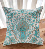 Hand Work Aqua Blue With Beige Cushion Covers (40.64cm x 40.64cm)