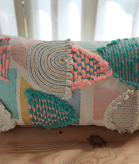 Hand Work Off-White and Multicolor Cushion Covers (30.48cm x 45.72cm)